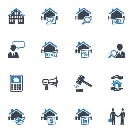 Real Estate Icons - Blue Series Stock Vector - 18025132