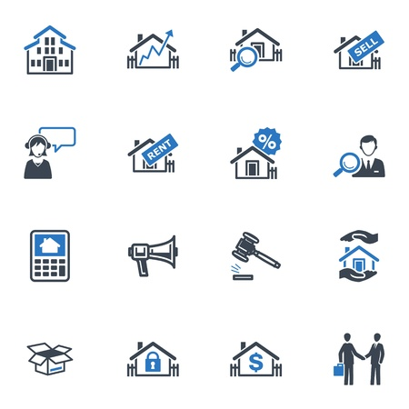 Real Estate Icons - Blue Series Vector