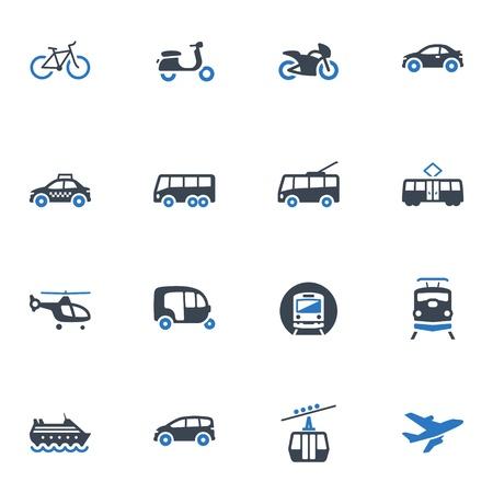Vervoer Pictogrammen - Blauwe Reeks Vector Illustratie
