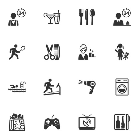 hotel pool: Hotel Services and Facilities Icons - Set 2 Illustration