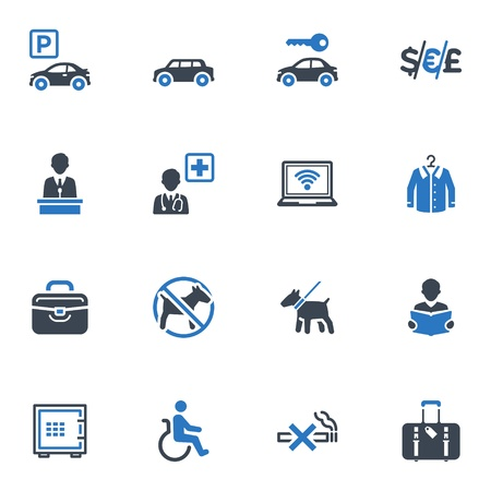 Hotel Services and Facilities Icons, Set 1 - Blue Series 免版税图像 - 18577230