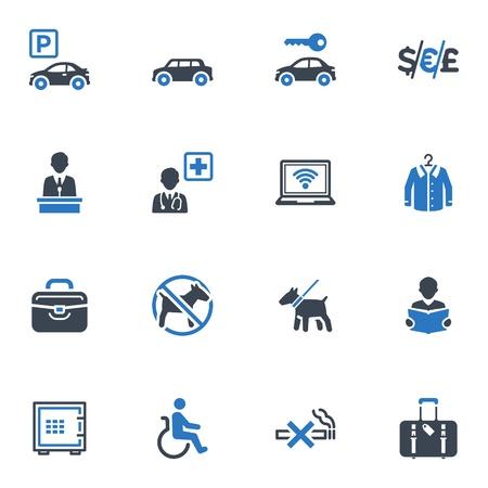 Service en accommodatie van pictogrammen, Set 1 - Blauwe Reeks Stock Illustratie