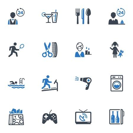 Service en accommodatie Pictogrammen, Set 2 - Blauwe Reeks Stock Illustratie