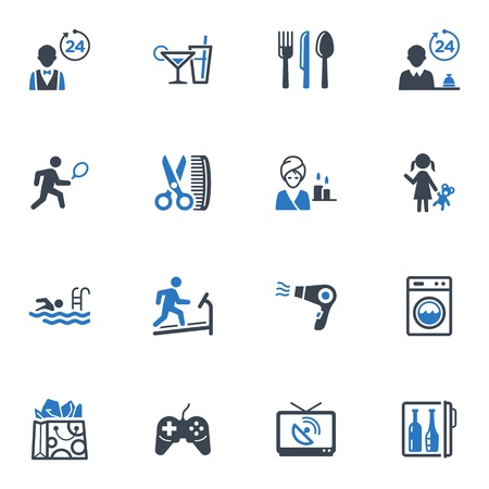 Servicios del hotel e Iconos instalaciones, Set 2 - Serie Azul