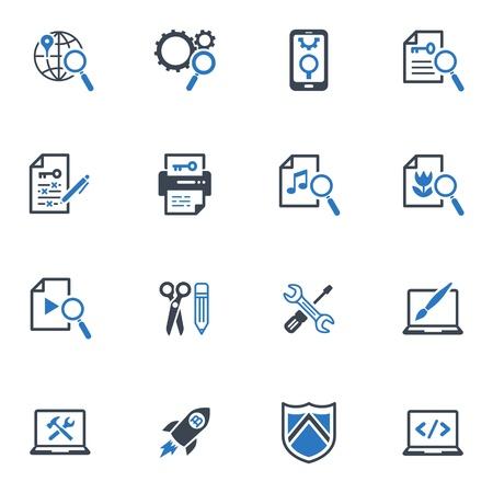 SEO y marketing en Internet Icons - Set 1 | Serie Azul