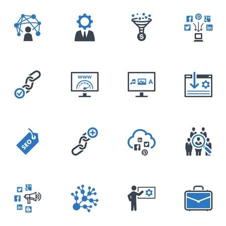 SEO & インターネット マーケティング アイコン - セット 2 |ブルー シリーズ