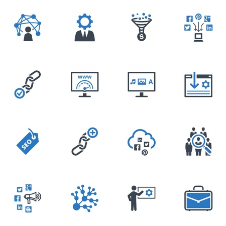 SEO & Internet Marketing Icons - Set 2 | Blue Series Stock Vector - 18908134