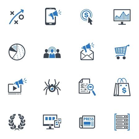SEO & Internet Marketing Pictogrammen - Reeks 3 | Blue Series Stock Illustratie