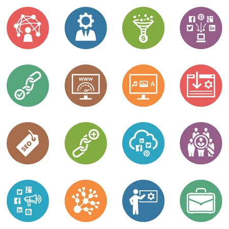 SEO and Internet Marketing Icons, Set 2 - Dot Series Vector
