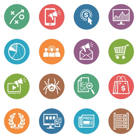 SEO en Internet Marketing iconen, Set 3 - Dot Series