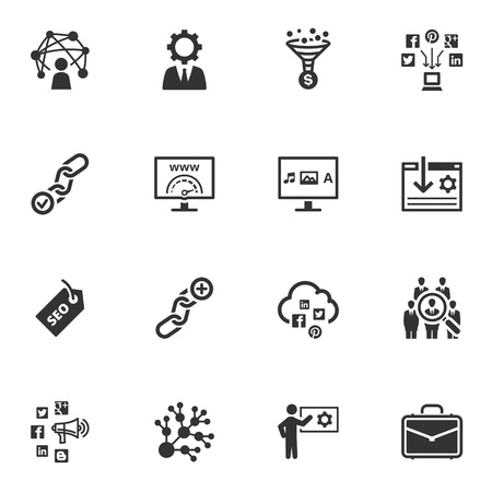 presencia: SEO y los iconos de Internet Marketing - Set 2 Vectores