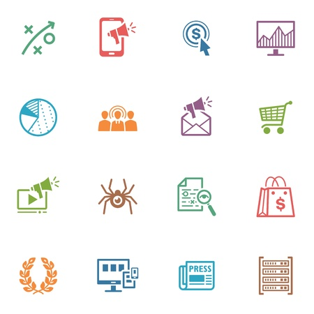SEO and Internet Marketing Icons, Set 3 - Colored Series
