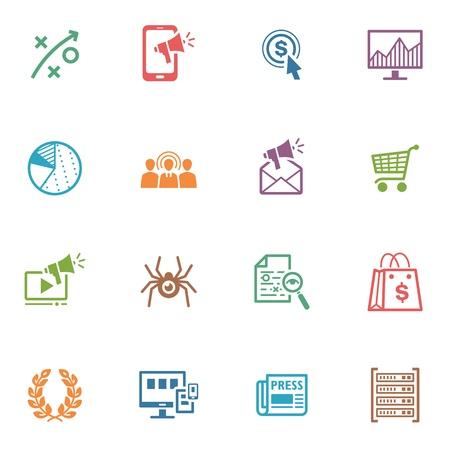 SEO y Marketing en Internet iconos, Set 3 - Series de color