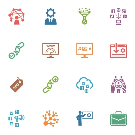 SEO and Internet Marketing Icons, Set 2 - Colored Series