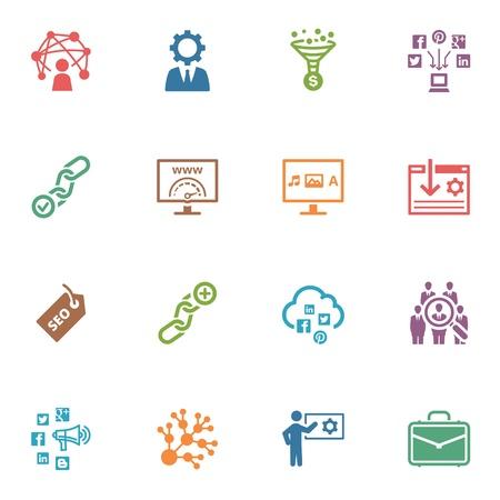 presencia: SEO y Marketing en Internet iconos, Set 2 - Series de color