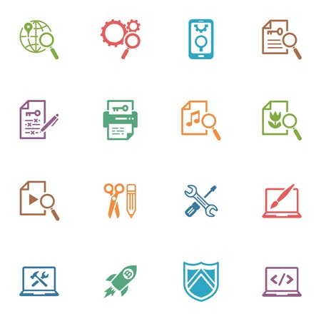 SEO and Internet Marketing Icons, Set 1 - Colored Series Vector