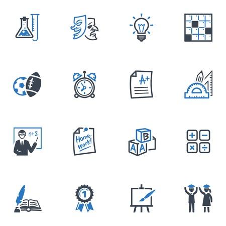 educacion fisica: Iconos de la escuela y la educaci�n - Juego 4 Serie Azul