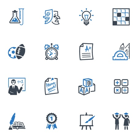 School and Education Icons - Set 4   Blue Series Illustration