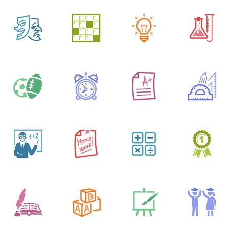 School and Education Icons - Set 4   Colored Series Stock Vector - 19292035
