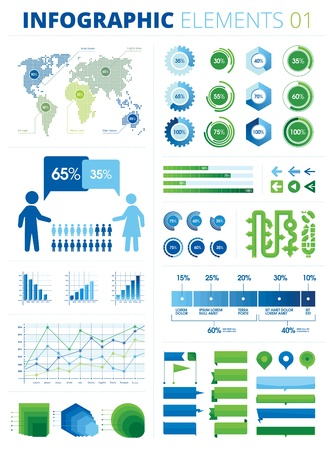 Infographic Elements 01  The file is created in order to be used by everyone, editable colors, text, shapes etc  All the charts and graphs are sliced into pieces of 5 percent each  Illustration