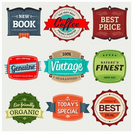 A collection of 9 vintage labels, perfect to showcase and promote your products