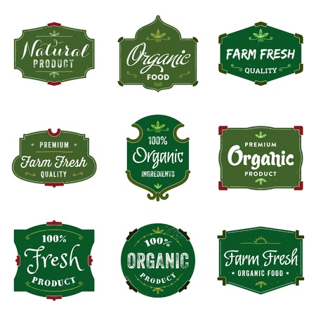 nutrition label: A collection of 9 duotone labels, perfect to showcase and promote your products  Illustration