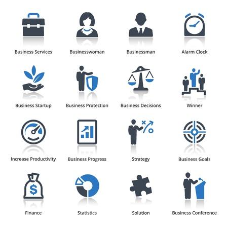 生産性: ビジネス アイコン セット 1 - ブルー シリーズ