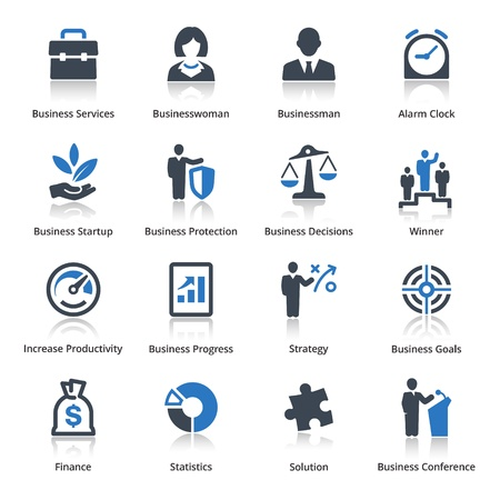 productividad: Business Icons Set 1 - Serie Azul Vectores