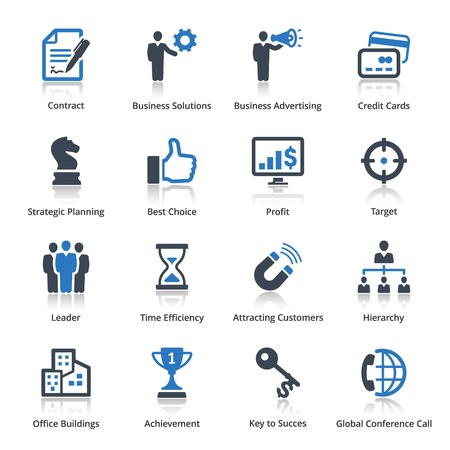 leadership key: Business Icons Set 2 - Blue Series Illustration