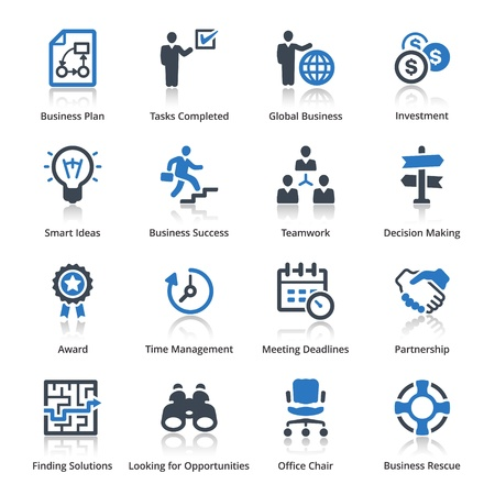 Business Icons Set 3 - Serie Azul Vectores