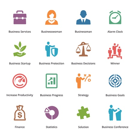gestion empresarial: Business Icons Set 1 - Color Series Vectores