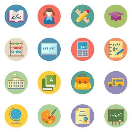 Flat Education Icons 1 - Dot Series