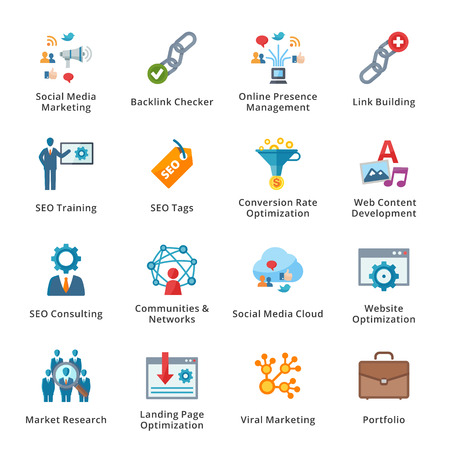 SEO and Internet Marketing Flat Icons - Set 2  イラスト・ベクター素材