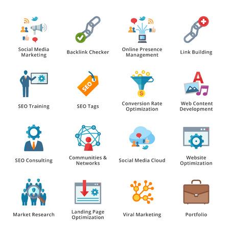 SEO and Internet Marketing Flat Icons - Set 2 Stock Illustratie