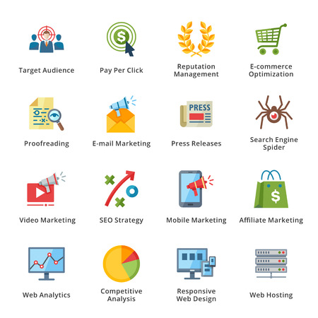 SEO y Marketing en Internet Piso Icons - conjunto 3