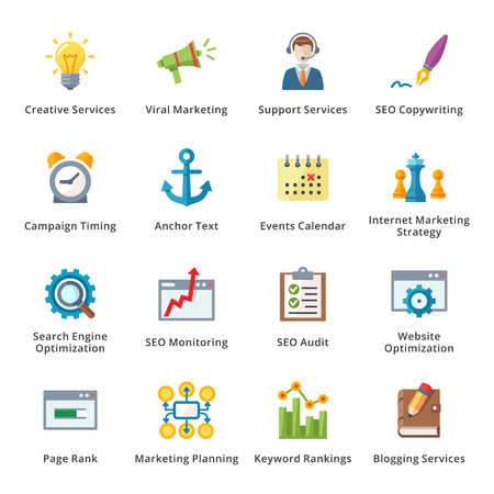 audit: SEO and Internet Marketing Flat Icons - Set 5