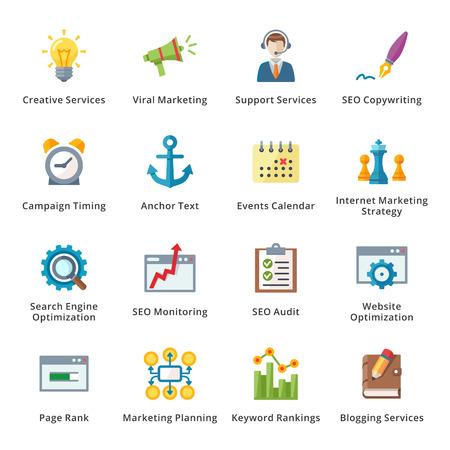 SEO y Marketing en Internet Piso Icons - Set 5 Vectores