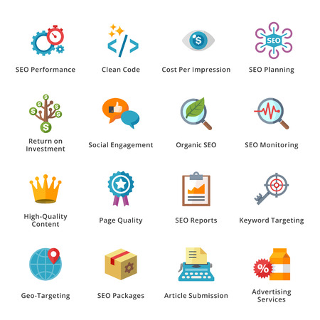SEO and Internet Marketing Flat Icons - Set 4 Stock Vector - 27450507