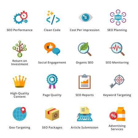 SEO y Marketing en Internet Piso Icons - Set 4