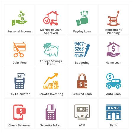 crecimiento personal: Personal Negocios Finanzas Iconos - conjunto 2 Vectores