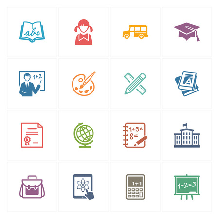 School and Education Icons Set 1 - Colored Series Illustration