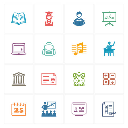 School and Education Icons Set 2 - Colored Series