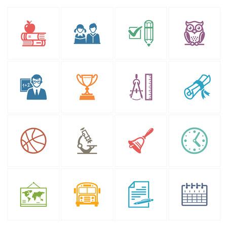 iconos educacion: Iconos de la escuela y la educaci�n Set 3 - Color Series