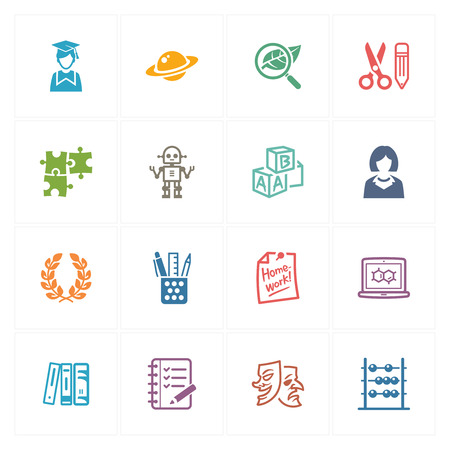 school supplies: School and Education Icons Set 5 - Colored Series