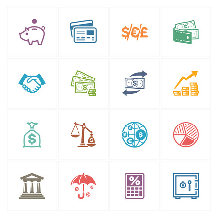 金融アイコン - 色シリーズ