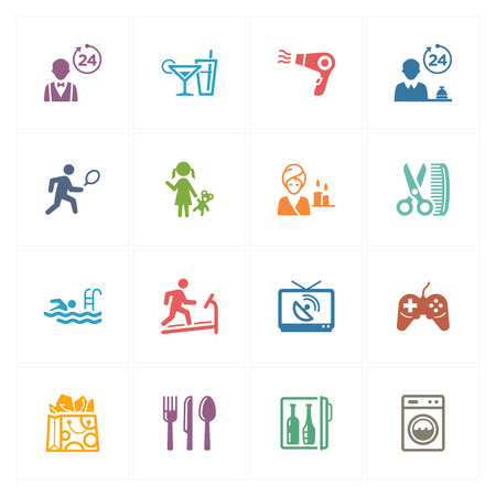 Hotel Icons Set 2 - Colored Series Vector