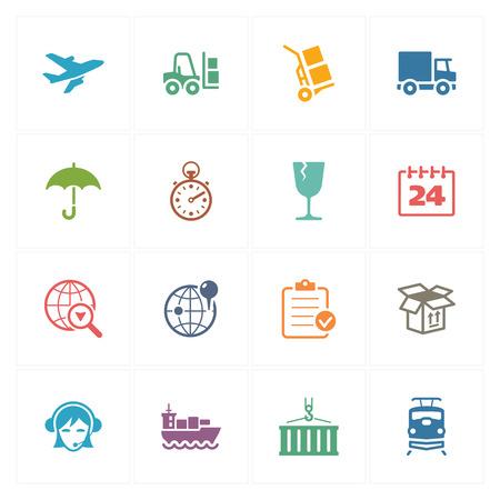 Log�stica Iconos - Series de Color Vectores