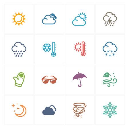 lluvia paraguas: Iconos del tiempo - serie de colores