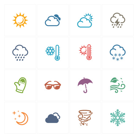 storm rain: Weather Icons - Colored Series Illustration