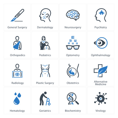 ortopedia: Iconos Médicos de Atención sanitaria y Set 2 - Especialidades